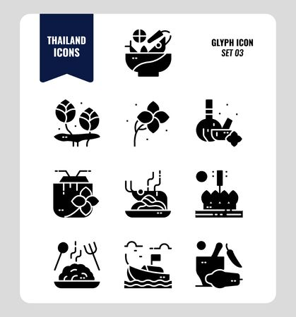 Thailand icon set 3. Include food, flower, festival, landmark and more. Glyph icons Design. vector