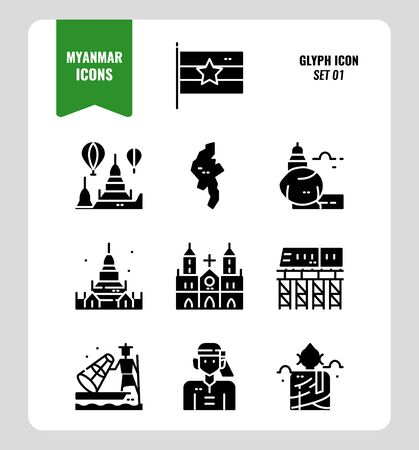 Myanmar icon set 1. Include flag, landmark, people, culture and more. Glyph icons Design. vector Vecteurs
