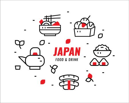 Japanese foods and drinks. Thin line design elements. vector illustration