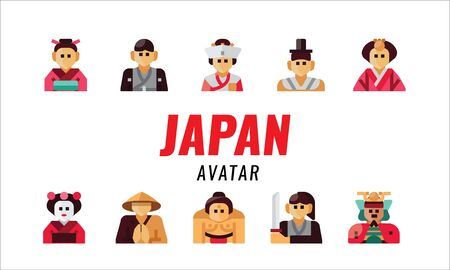 Japanese traditional character. flat design elements. vector illustration