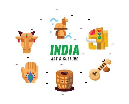 India  Art and Culture elements. Flat design elements. vector illustration Illusztráció