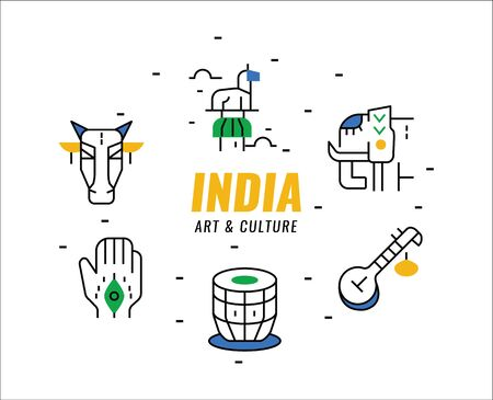 India  Art and Culture elements. thin line design elements. vector illustration