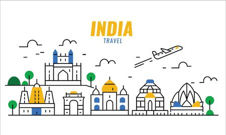 India travel scene. thin line poster and banner design elements. vector illustration 일러스트