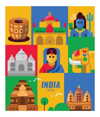 India travel. landmarks, people and culture scene. flat poster and banner design elements. vector illustration Illusztráció