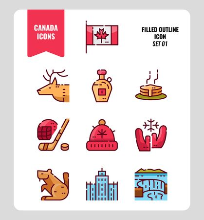 Canada icon set 1. Include Canada flag, Maple syrup, niagara fall, hockey, animal and more. Filled outline icons Design. vector