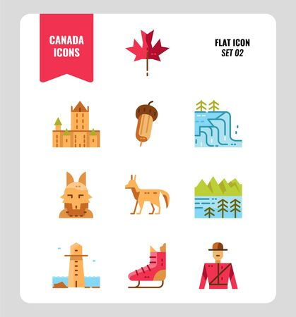 Canada icon set. Include Canada landmark, Maple leaf, landscape, red fox and more. Flat icons Design. vector 일러스트