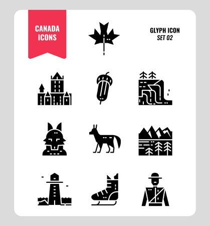 Canada icon set. Include Canada landmark, Maple leaf, landscape, red fox and more. Glyph icons Design. vector