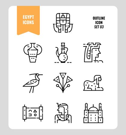 Egypt icon set 3. Include pharaoh, sphinx, cleopatra and more. Outline icons Design. vector