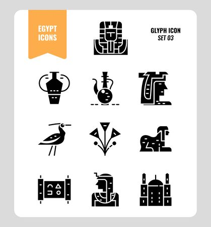 Egypt icon set 3. Include pharaoh, sphinx, cleopatra and more. Glyph icons Design. vector