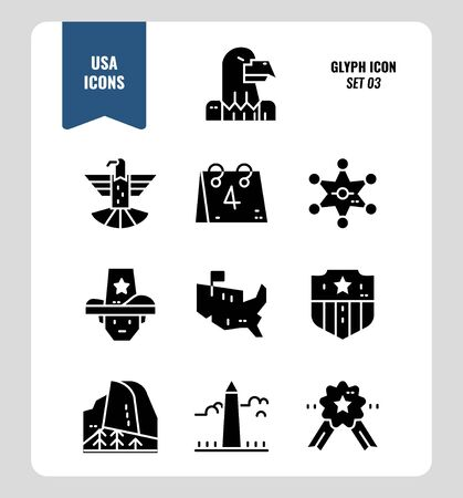 American icon set 3. Include Eagle sign, USA map, Landscape and more. Glyph icons Design. vector