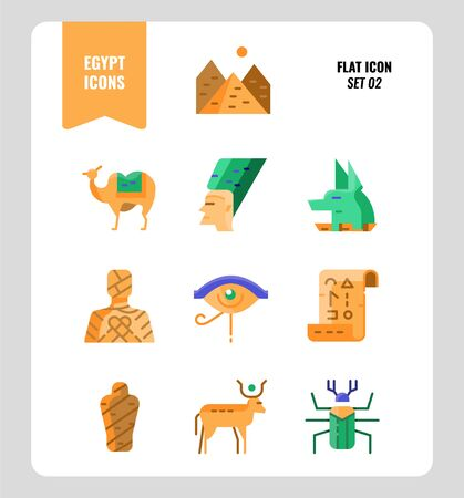 Egypt icon set 2. Include Pyramid, Anubis, god, mummy, camel and more. Flat icons Design. vector