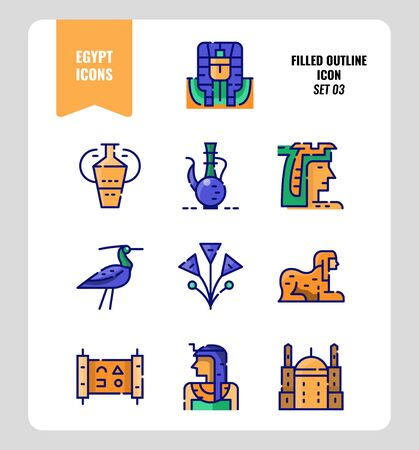 Egypt icon set 3. Include pharaoh, sphinx, cleopatra and more. Filled outline icons Design. vector