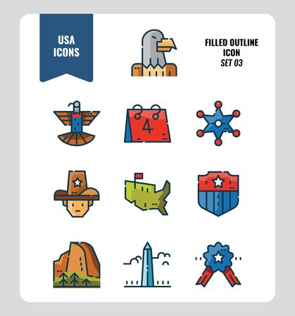 American icon set 3. Include Eagle sign, USA map, Landscape and more. Filled Outline icons Design. vector Ilustrace