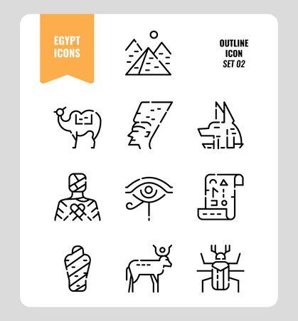 Egypt icon set 2. Include Pyramid, Anubis, god, mummy, camel and more. Outline icons Design. vector Illusztráció