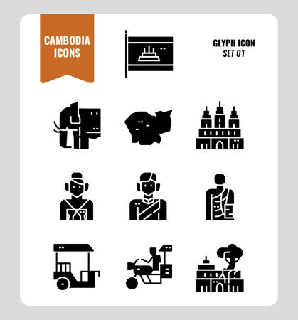 Cambodia icon set 1. Include flag, landmark, people, culture and more. Glyph icons Design. vector illustration