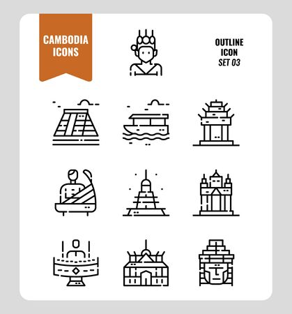 Cambodia icon set 3. Include landmark, music, people, culture and more. Outline icons Design. vector illustration