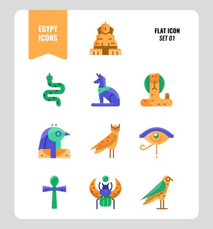 Egypt icon set 1. Include Sphinx, Horus, Ankh, Cobra, owl and more. Flat icons Design. vector