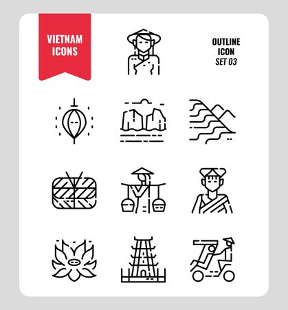 Vietnam line icon set 3. Include landmark, people, food, culture and more. Outline icons Design. vector