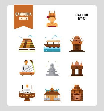 Cambodge icon set 3. Inclure le point de repère, la musique, les gens, la culture et plus encore. Conception d'icônes plates. illustration vectorielle