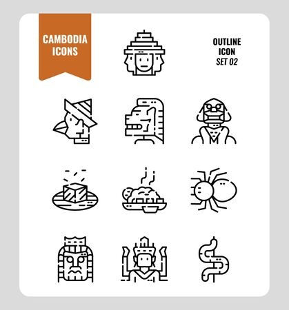 Cambodia icon set 2. Include landmark, art, food, culture and more. Outline icons Design. vector illustration
