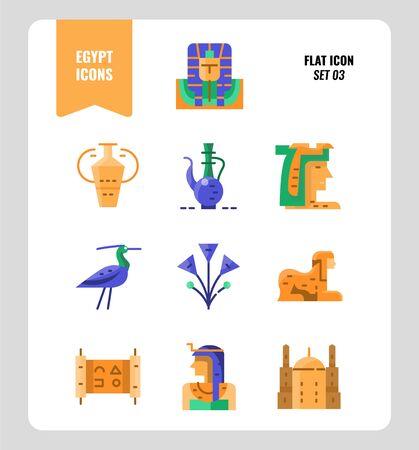 Egypt icon set 3. Include pharaoh, sphinx, cleopatra and more. Flat icons Design. vector Illusztráció