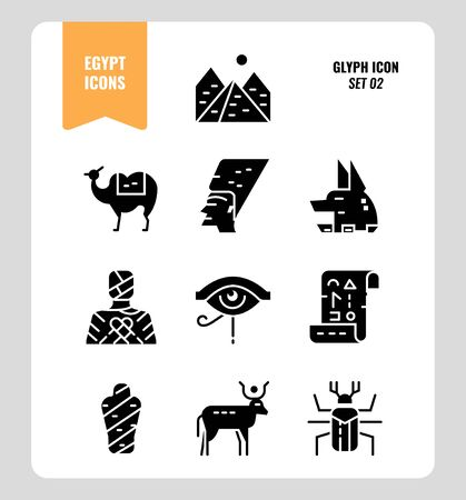 Egypt icon set 2. Include Pyramid, Anubis, god, mummy, camel and more. Glyph icons Design. vector
