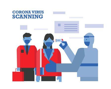 Medics in hazmat suits scanning people looking for symptoms of the coronavirus. Flat design vector illustration