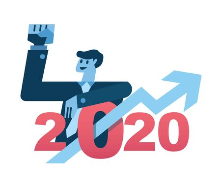 Businessman and arrow growth graph in 2020 text. Business successful and leadership concept. flat design elements. vector illustration
