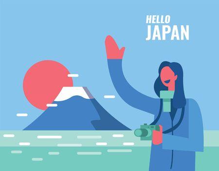Hello Japan. Happy woman enjoy her trip.   Fuji mountain landscape in background.  flat design elements. vector illustration Ilustração