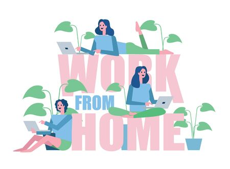 Group of woman working from home. Home quarantine concept design. vector illustration