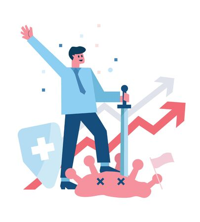 Businessman success to protect his business from corona virus. Leadership concept. flat design vector illustration