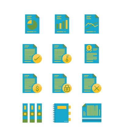 Paper and document icons set. Flat icons design. vector