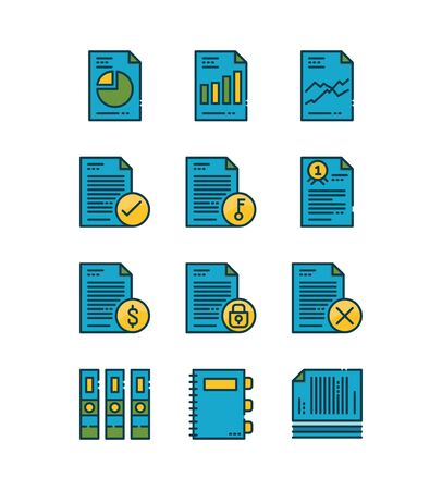 Paper and document icons set. Filled outline icons design. vector