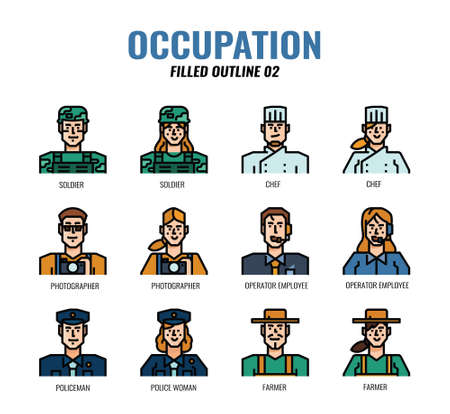 Occupation Avatar filled outline icon set02. Vettoriali