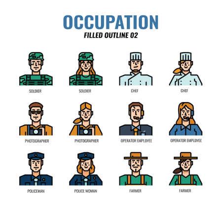 Occupation Avatar filled outline icon set02. Vetores