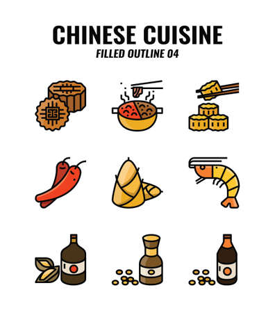 Filled outline icon set of Chinese traditional food and cuisine. icons set4