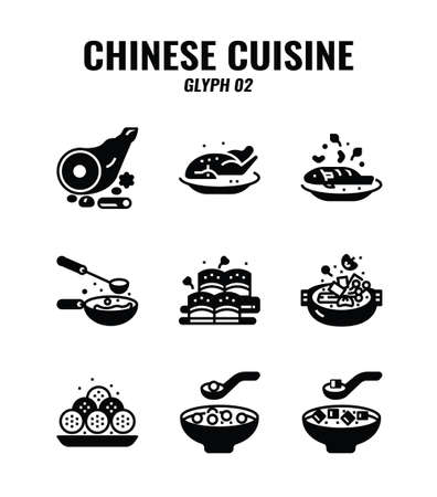 Glyph or solid icon set of Chinese traditional food and cuisine. icons set2