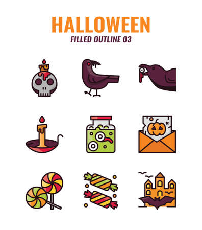 Filled outline icon set of halloween. icons set3