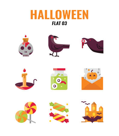 Flat icon set of halloween. icons set3