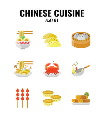 Flat icon set of Chinese traditional food and cuisine. icons set1