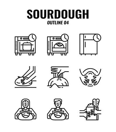 Outline icon set of homemade sourdough bread baking kit and process. icons set4