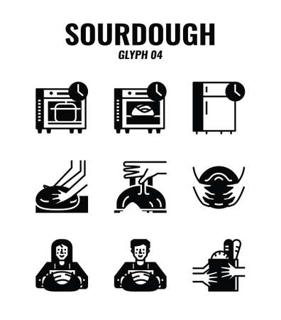 Glyph icon set of homemade sourdough bread baking kit and process. icons set4 Vecteurs