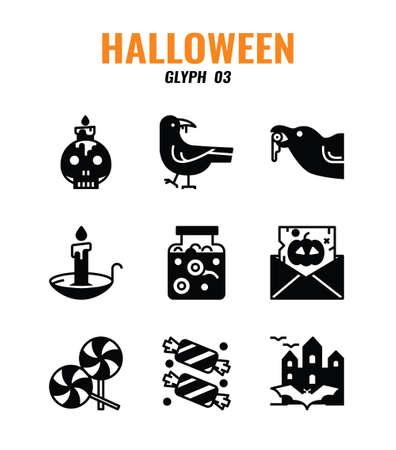 Glyph icon set of halloween. icons set3