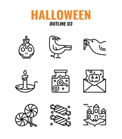 Outline icon set of halloween. icons set3