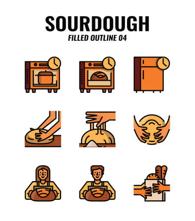 Filled outline icon set of homemade sourdough bread baking kit and process. icons set4 Vectores