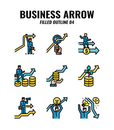 Filled outline icon set of business and arrows concept. icons set4 일러스트
