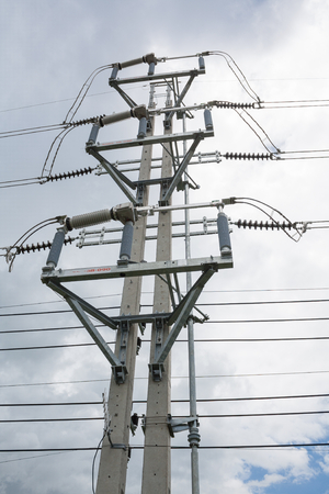 conductor electricity: Load break switch installed on double concrete pole