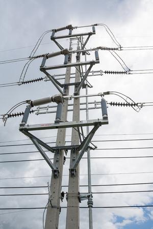 bare wire: Load break switch installed on double concrete pole
