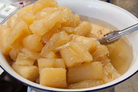 Sweet cassava dessert in bowl with clamp