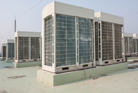 Fan Coil Unit on rooftop Stock Photo